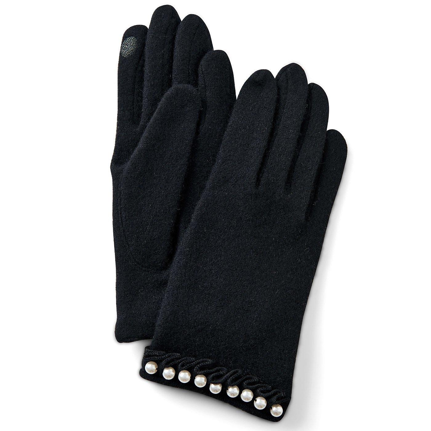 DRECOバイヤーズセレクト タッチパネル対応パール付手袋〈ブラック〉