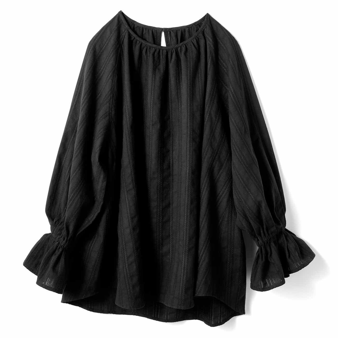 IEDIT[イディット] 繊細コットン素材のロングプルオーバー〈ブラック〉