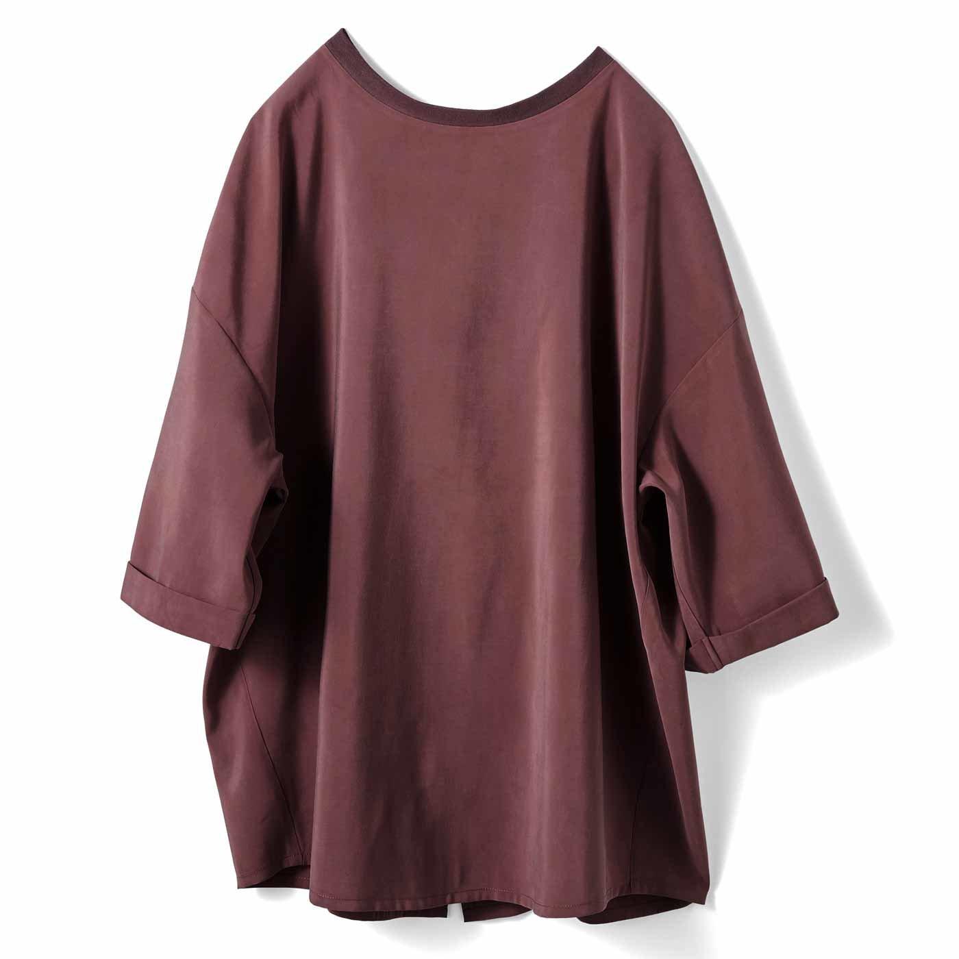 IEDIT[イディット] なめらか素材のTシャツみたいなカジュアルブラウス〈ローズブラウン〉