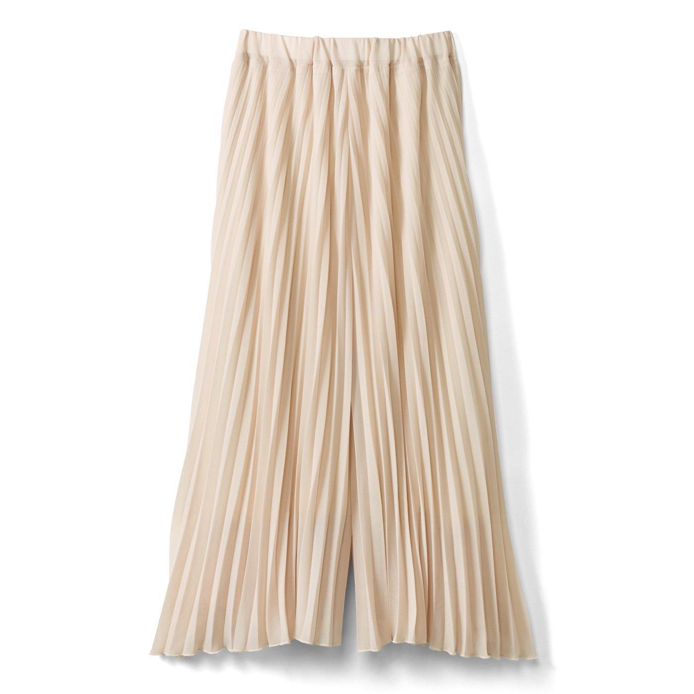IEDIT[イディット] 吸汗速乾裏地付き しなやかプリーツスカート見えパンツ〈ライトベージュ〉
