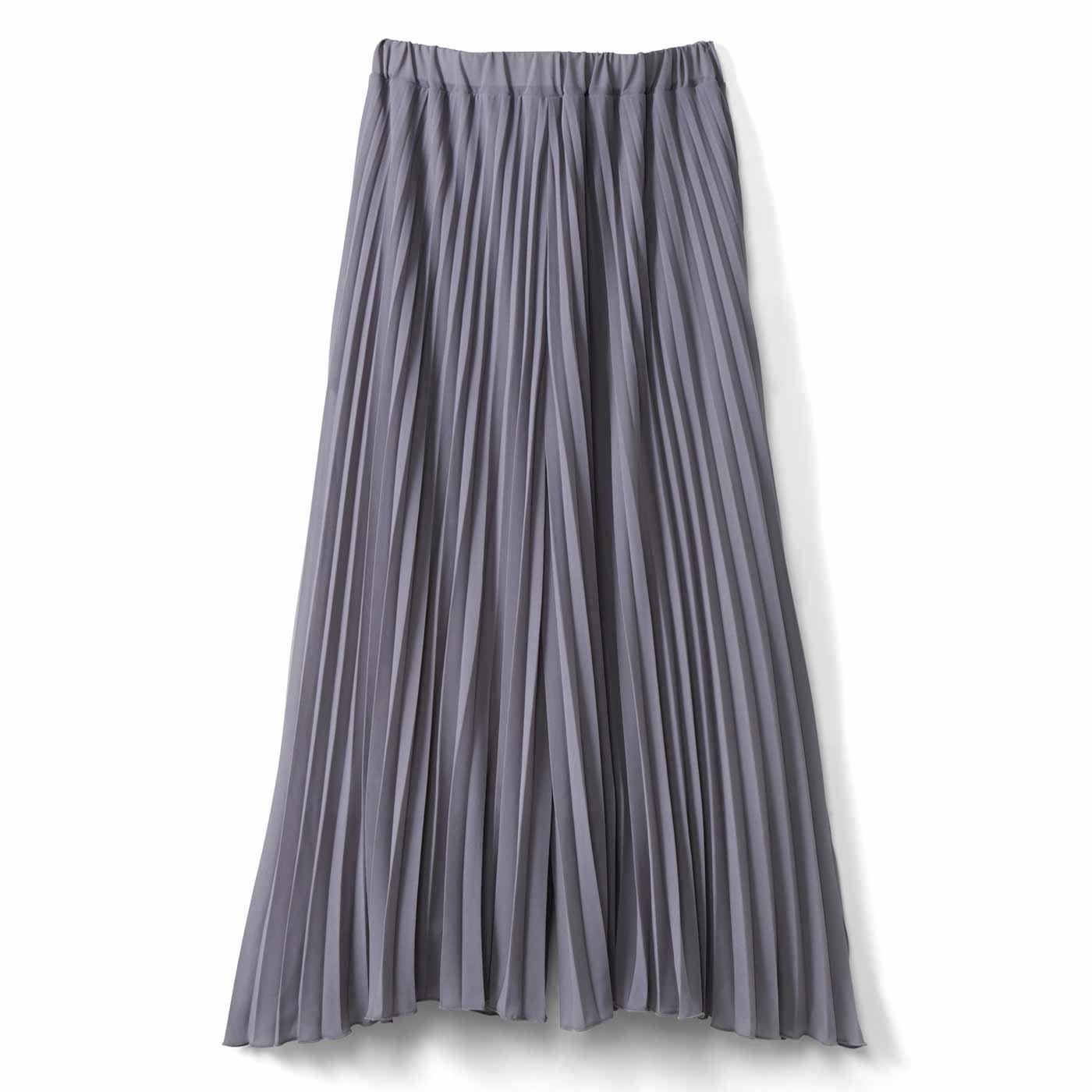 IEDIT[イディット] 吸汗速乾裏地付き しなやかプリーツスカート見えパンツ〈ライトグレー〉