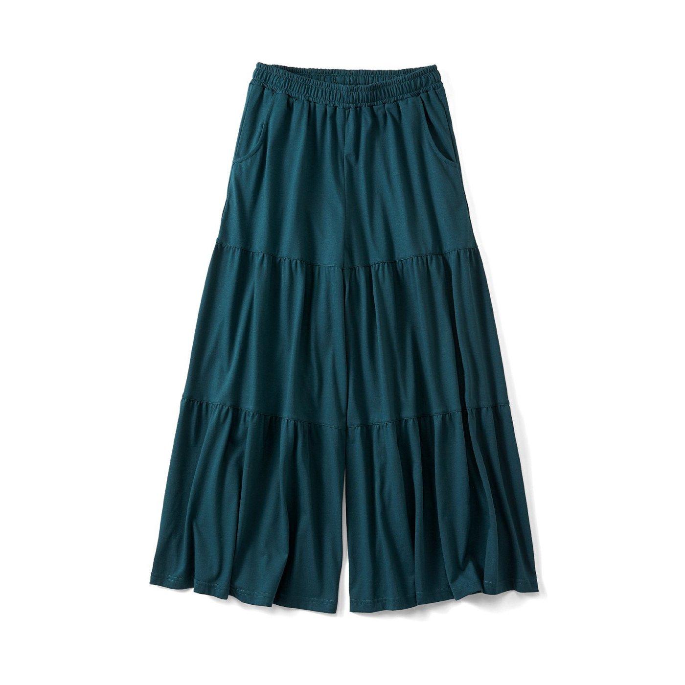リブ イン コンフォート スカート気分の やわらかカットソー ティアードガウチョ〈グリーン〉