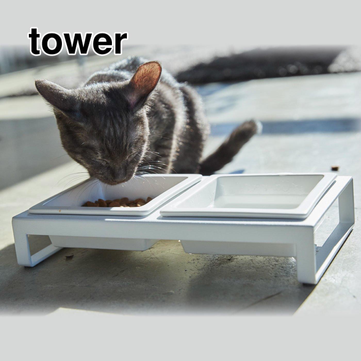 tower ペットフードボウルスタンドセット