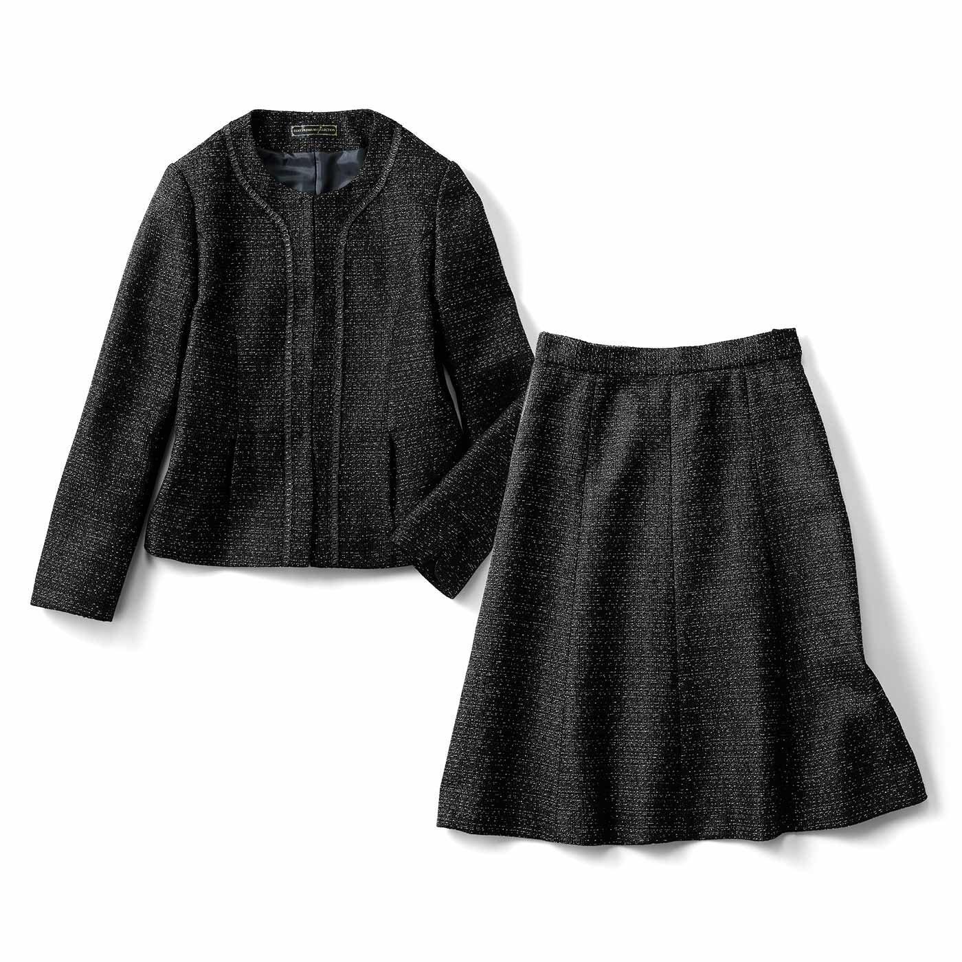 IEDIT つやめき素材で可憐に華やぐ 着まわしブラックセットアップスーツ