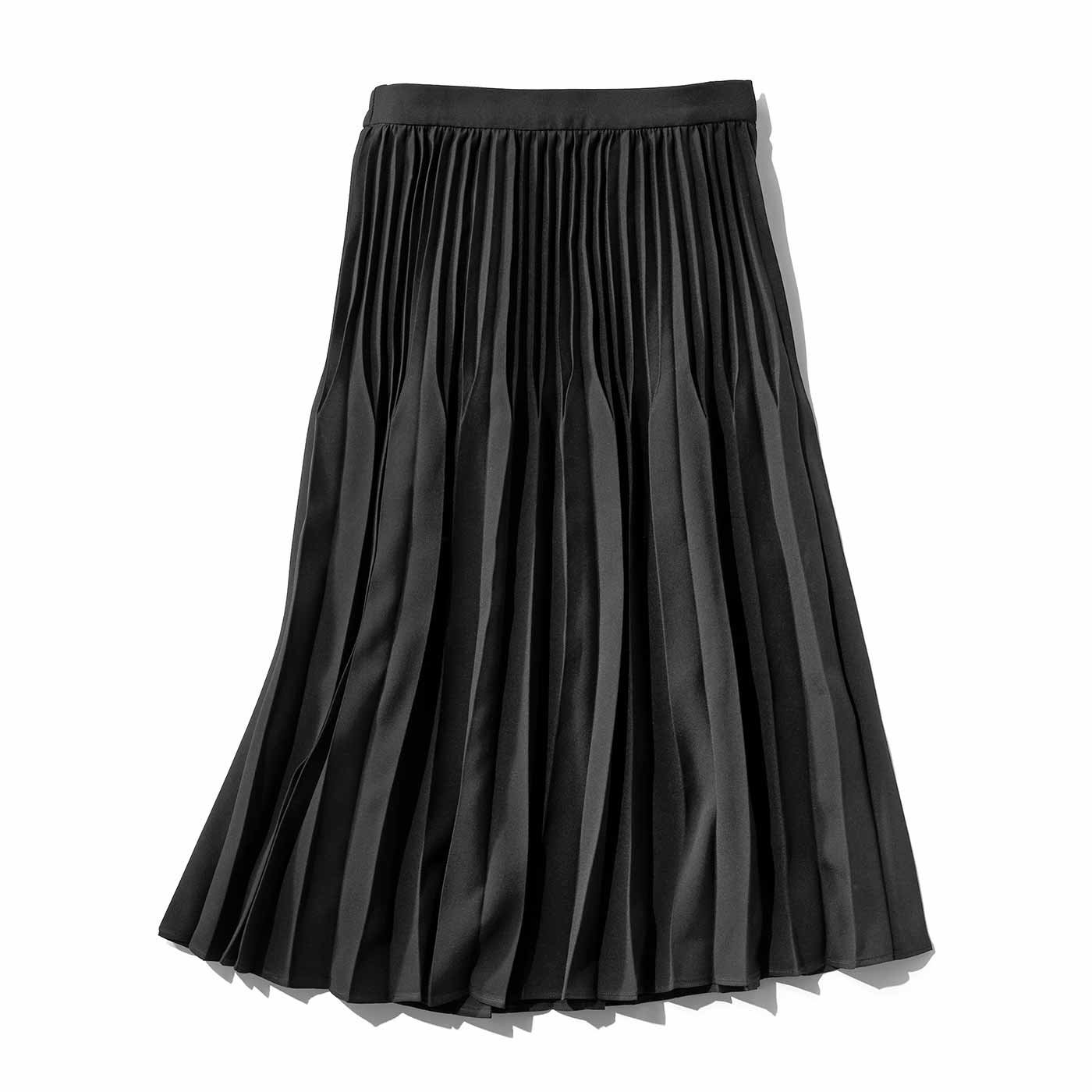 IEDIT 立体シルエットの二段切り替え プリーツスカート〈ブラック〉
