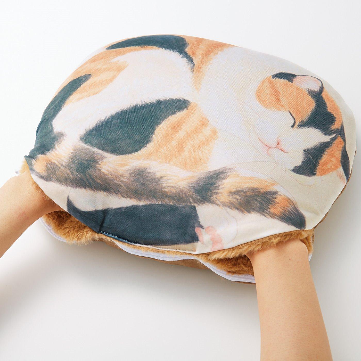 両手が入るポケットは、内側がボアでフワフワ。まるで猫をさわってるみたい!