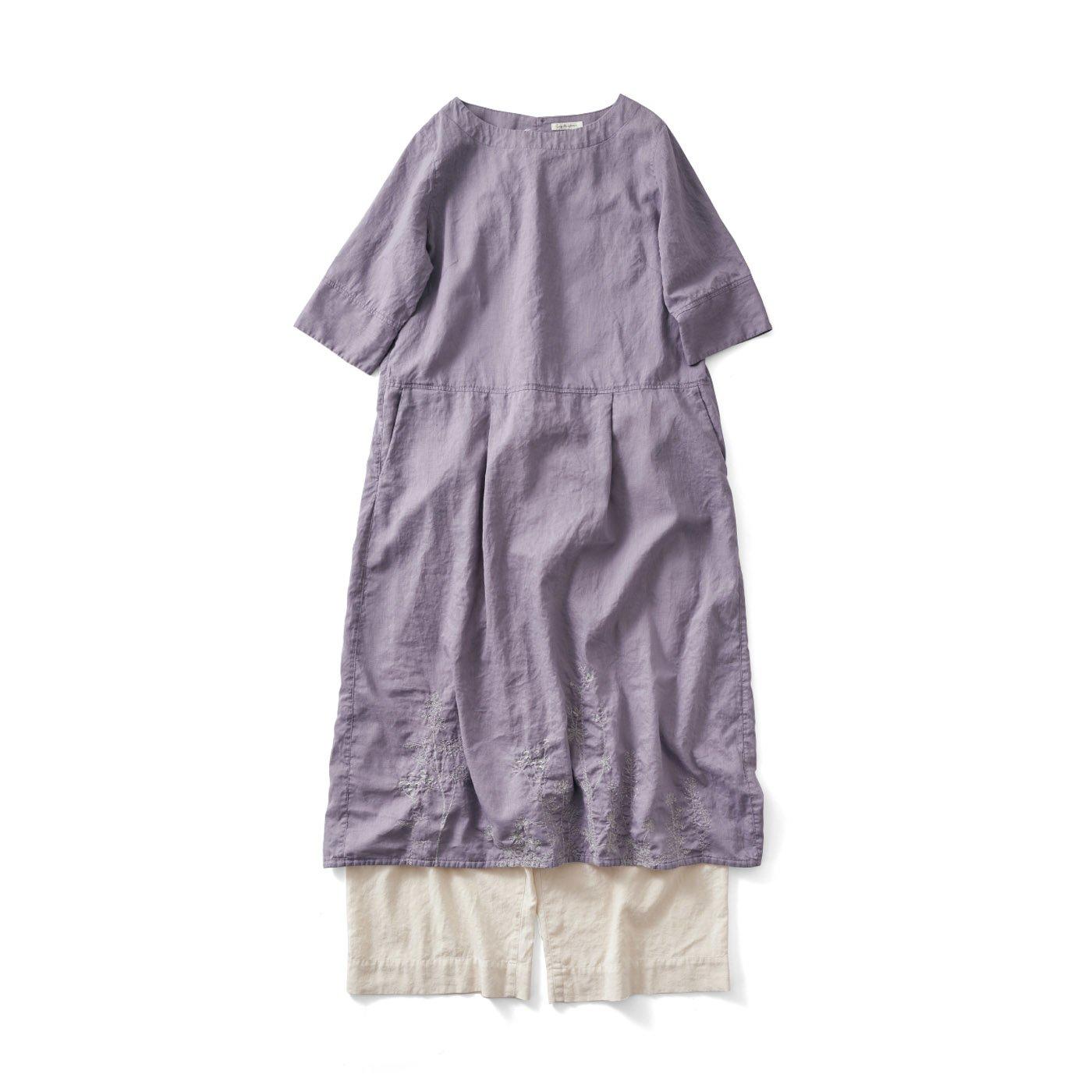 サニークラウズ 薄紫刺しゅうワンピ&ペチパンセット〈レディース〉