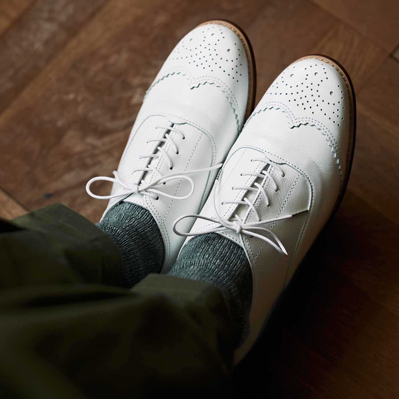 長田靴職人が叶えた 本革ハーフウィングチップ〈ネージュ〉[本革 靴:日本製]