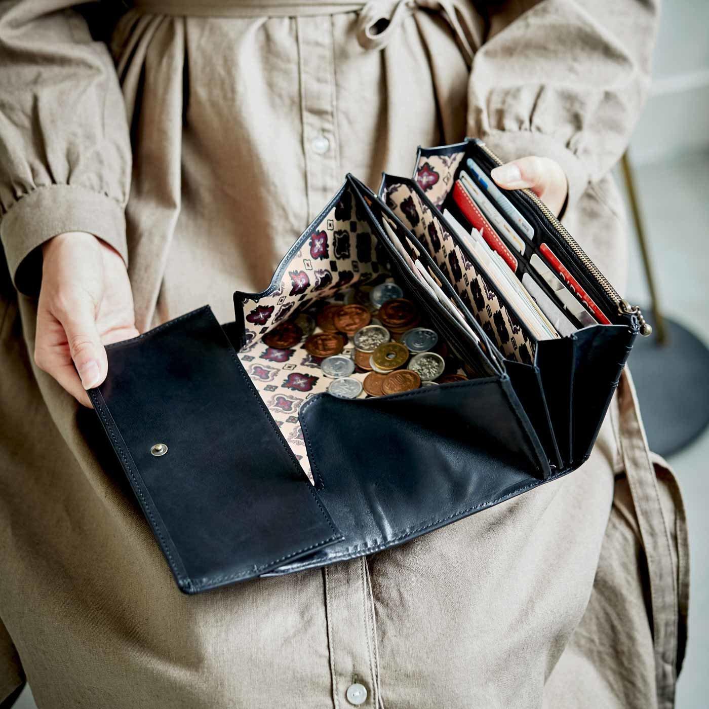 職人仕上げの馬革ギャルソン財布〈黒鍵色〉[本革 財布:日本製]