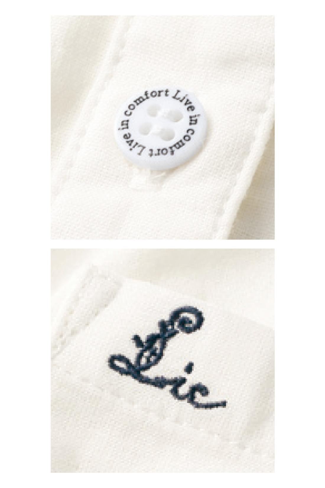 ロゴを刻印したオリジナルボタンや、ポケットの刺繍がデザインポイント。