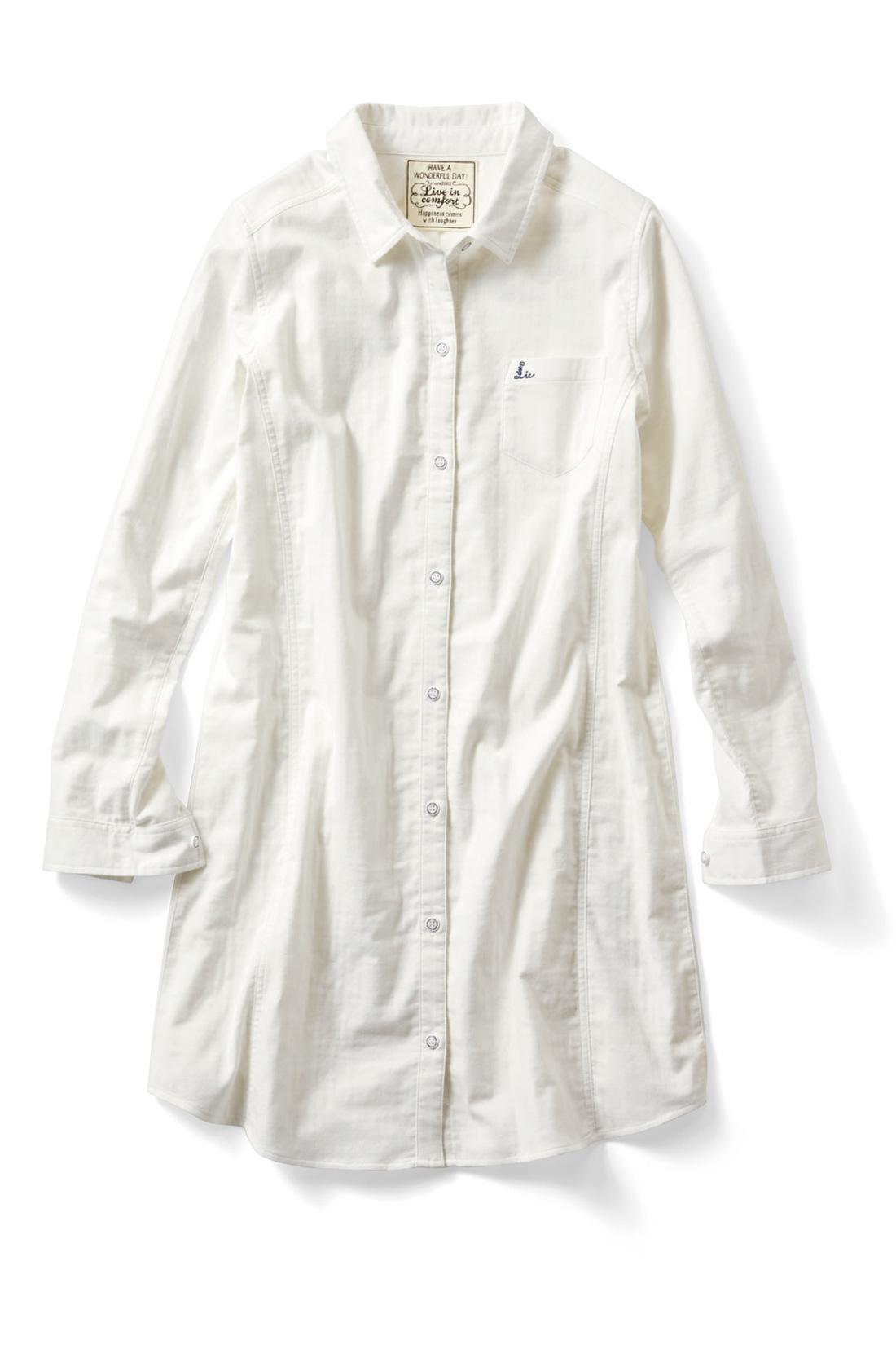 無敵の着まわし力【ホワイト】しっかりと腰まわりをカバーしてくれるチュニック丈。重ね着にも大活躍。