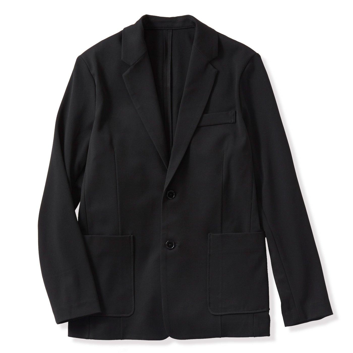 【WEB限定】IEDIT[イディット] いつまでもキレイな黒が続く 純黒スマートテーラードメンズジャケット〈ブラック〉
