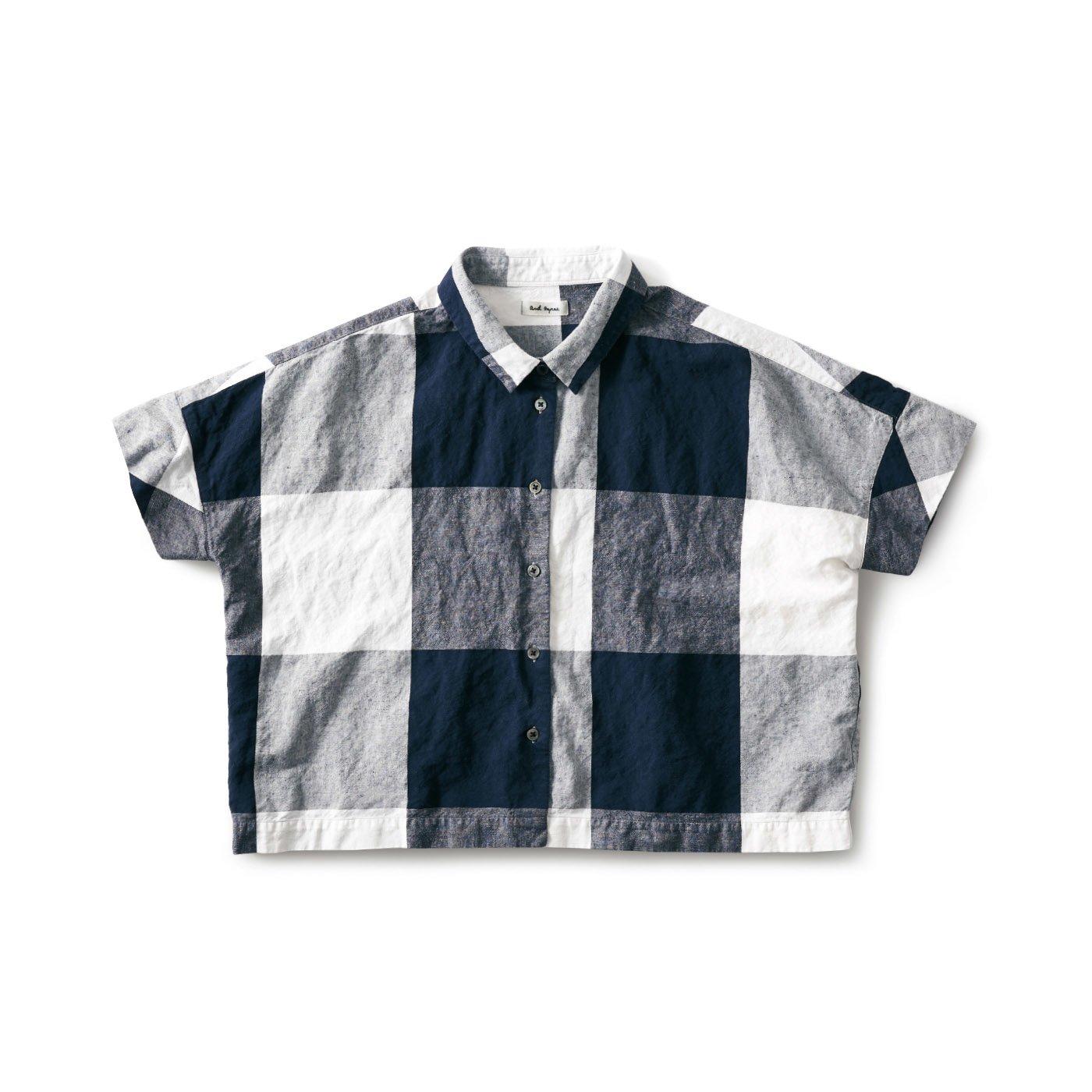 and myera みじか丈のシャツ〈チェック〉
