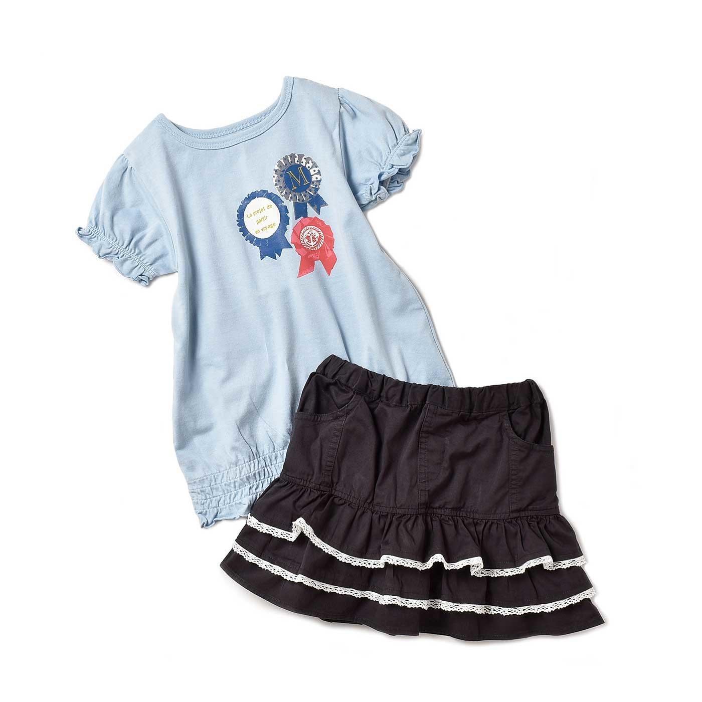 モンシュー ベー クールでキュート!! 遊び心いっぱいのちょい甘ガールズスーツ〈ライトブルー×ブラック〉