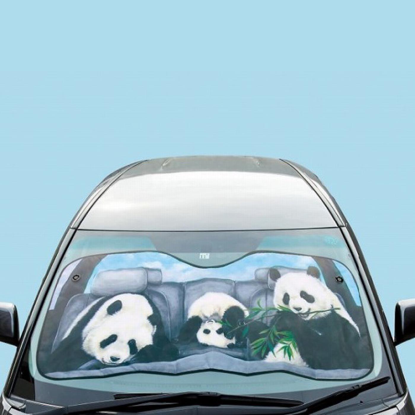 YOU+MORE! パンダの親子のお留守番パンシェード〈フロントガラス用〉