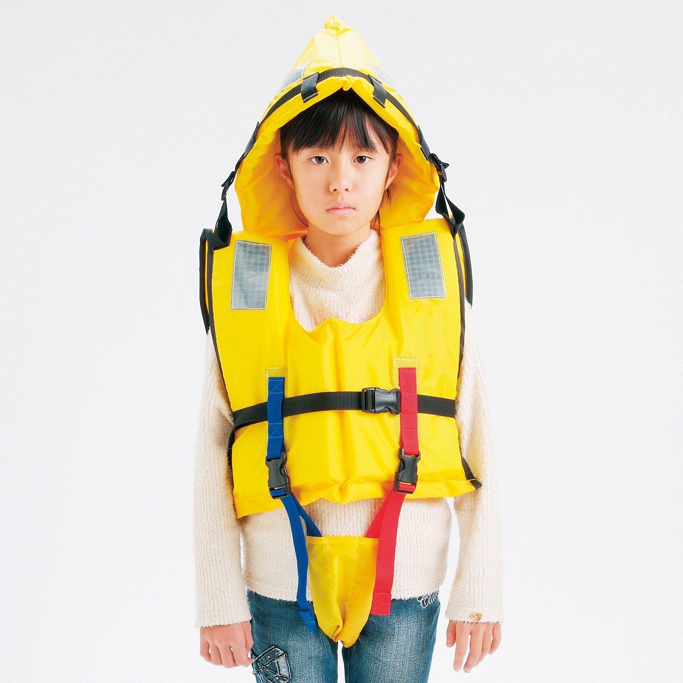 防護頭巾付きで頭もガード 水害対策に備えたい ライフジャケット子ども用M〈120~150cm〉
