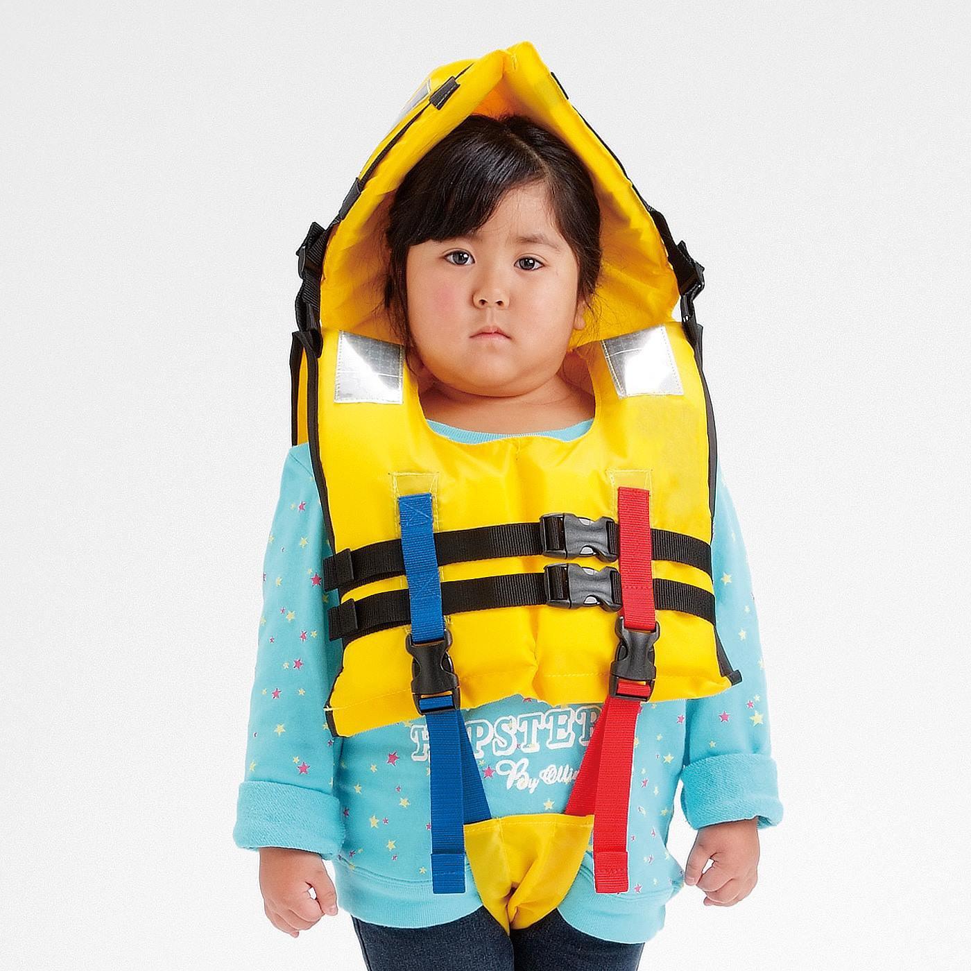 防護頭巾付きで頭もガード 水害対策に備えたい ライフジャケット子ども用S〈90~120cm〉