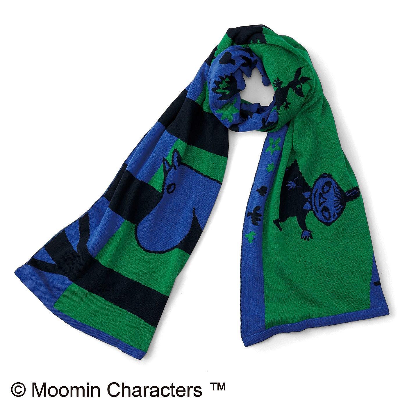 ムーミンと仲間たち 森の中でのんびりストール〈ブルー&グリーン〉