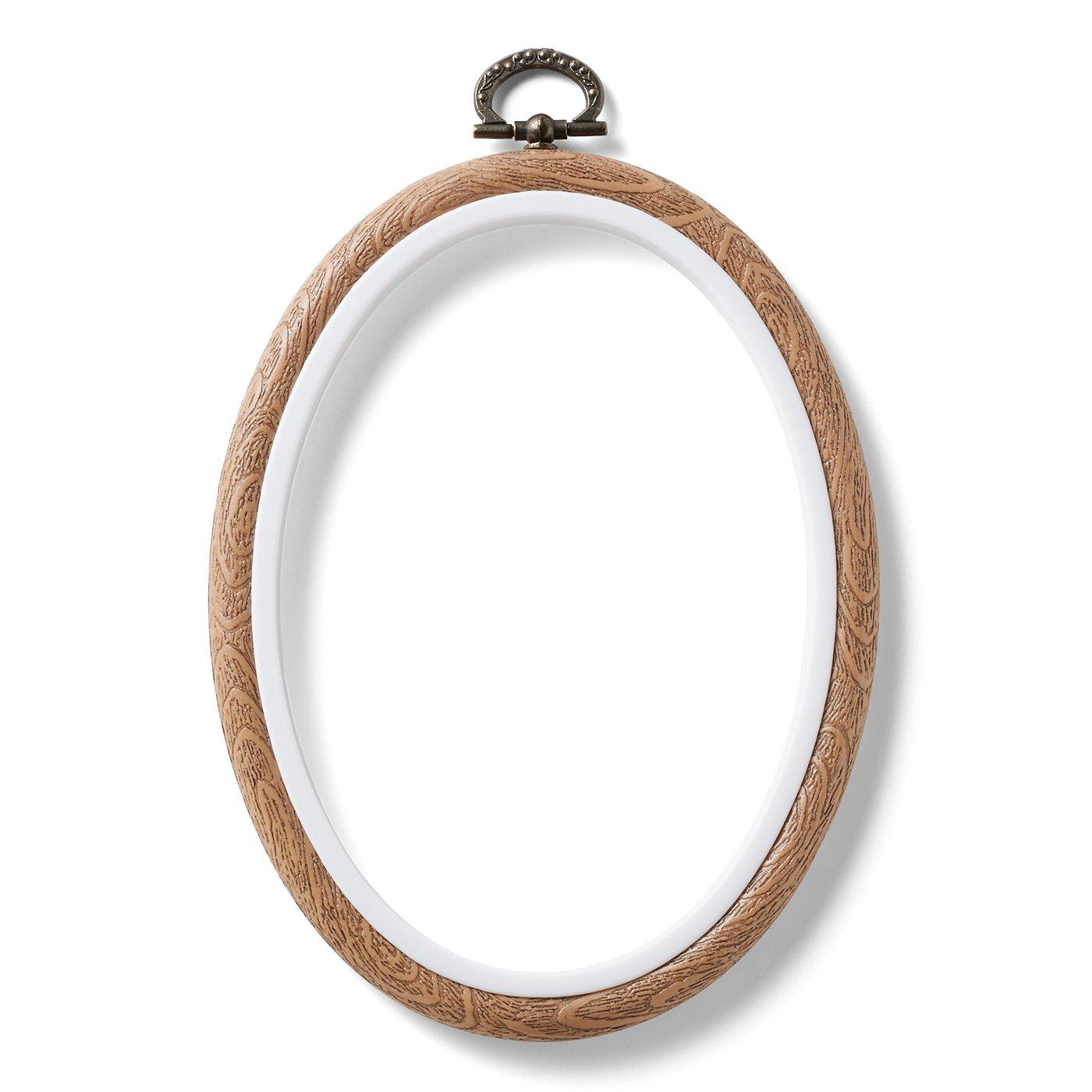 作品が映える木目調のフレーム〈楕円形〉