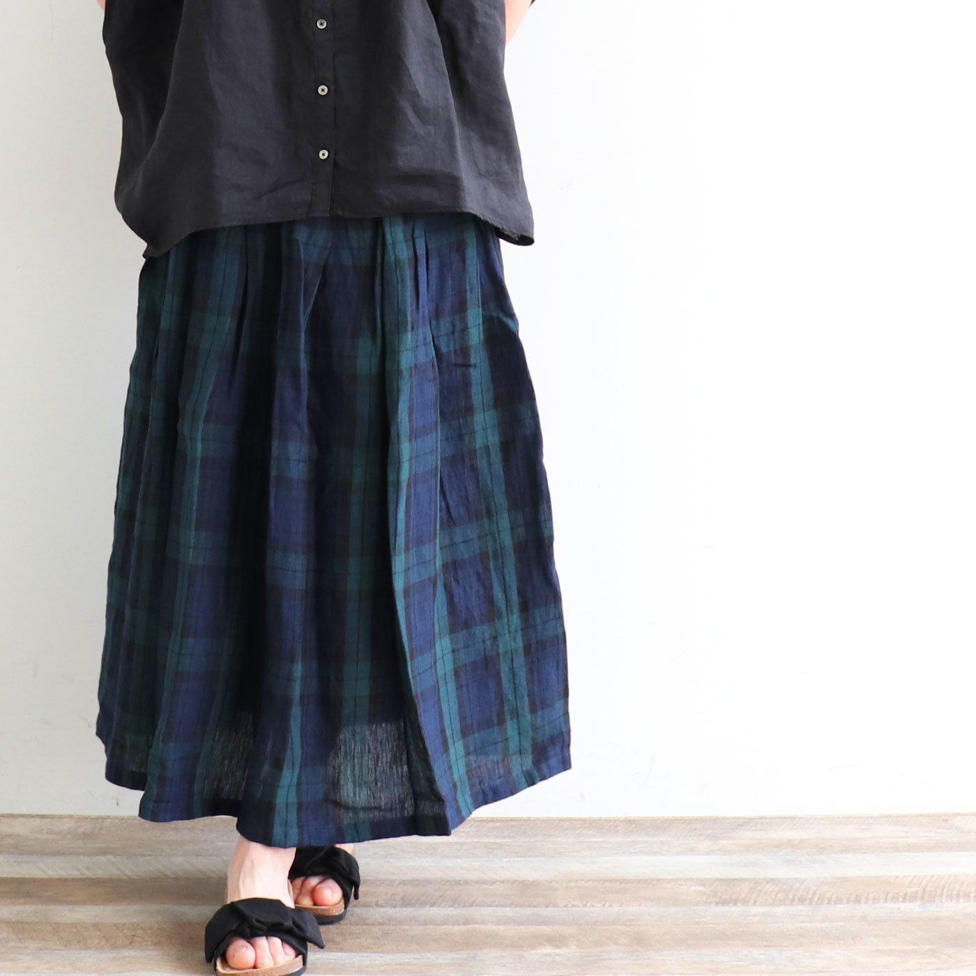 ubasoku リネン素材のチェックロングスカート