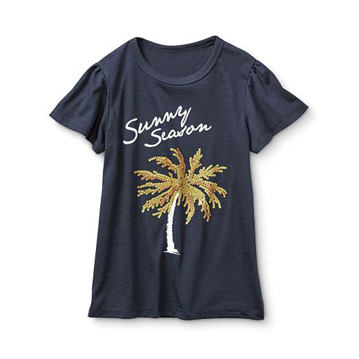 キラリ! スパンコール風プリントがリアルなやわらかTシャツ(ネイビー)