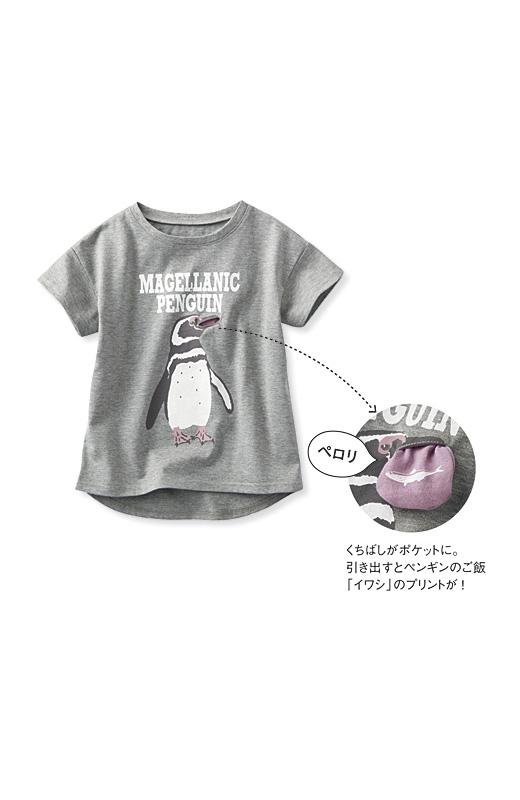 これは参考画像です。くちばしがポケットに。引き出すとペンギンのご飯「イワシ」のプリントが!