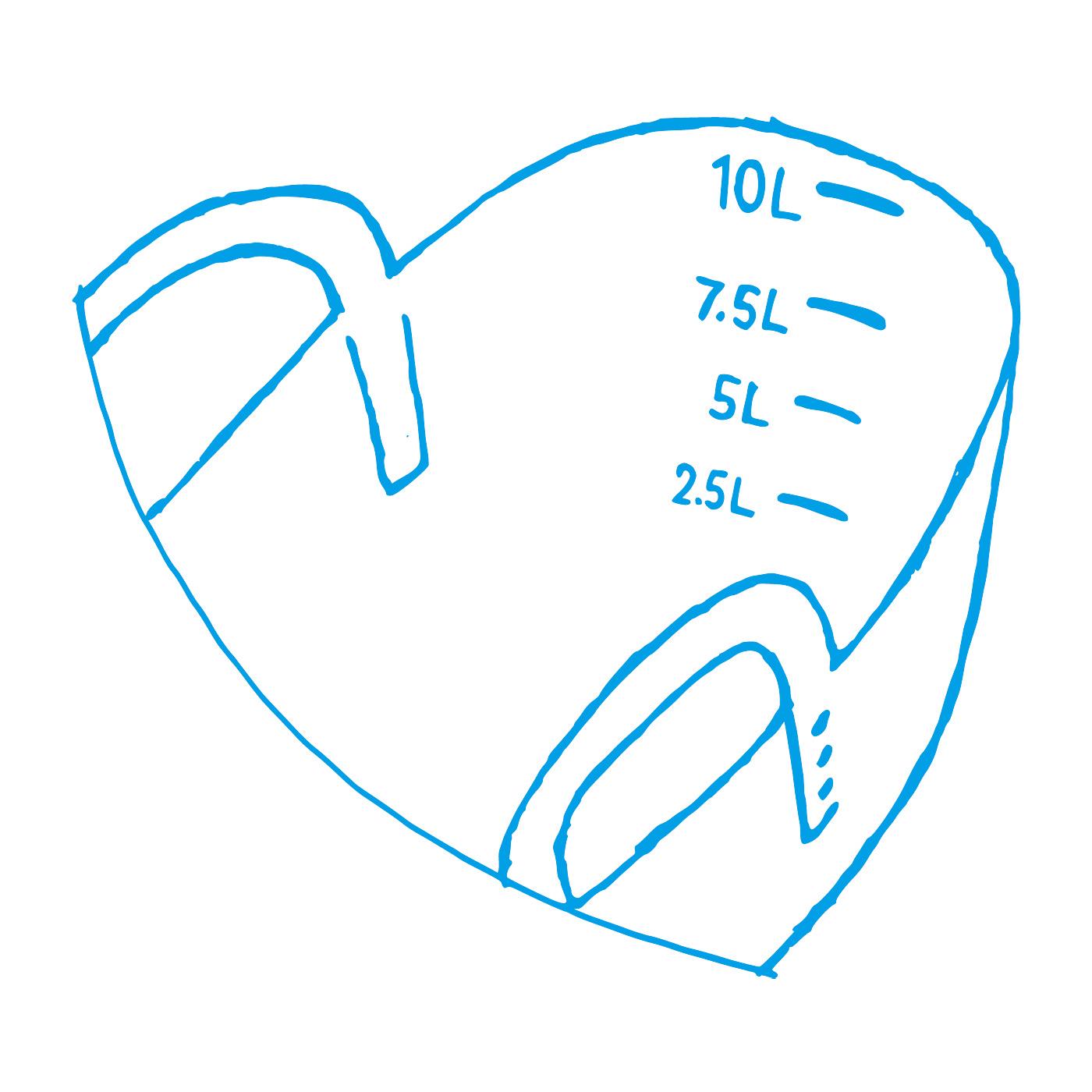 2.5Lずつの目盛り付きでお洗濯にも便利。