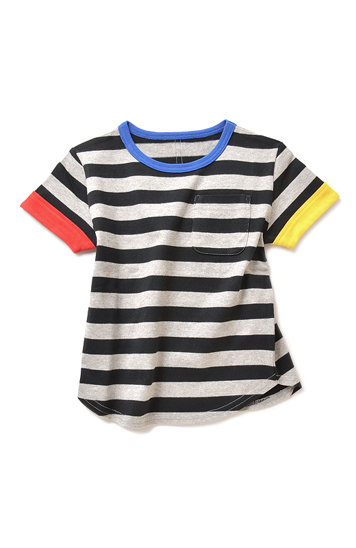 Kids' パパと同じピッチのボーダーに左右違いの袖配色がおしゃれ。