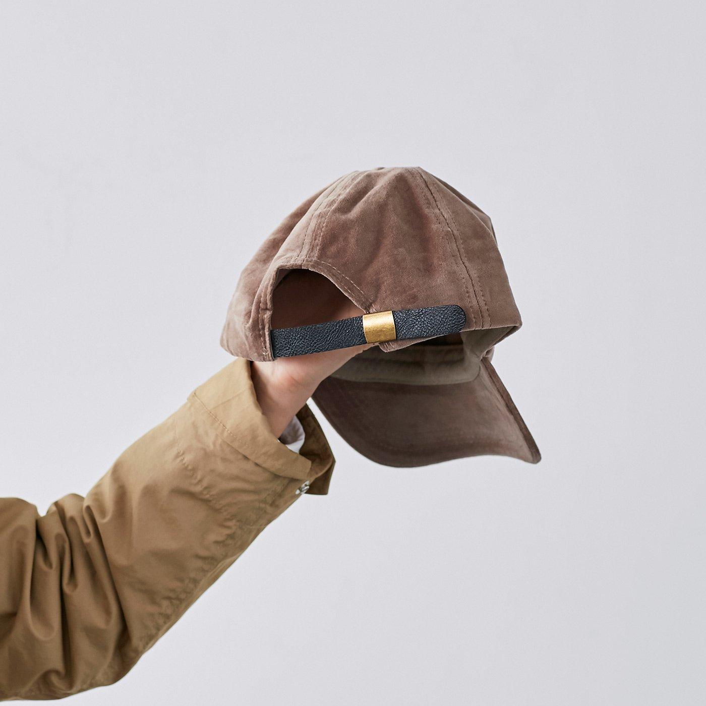 IEDIT[イディット] SELECT サイズ調節機能付き 旬の別珍キャップ〈モカベージュ〉