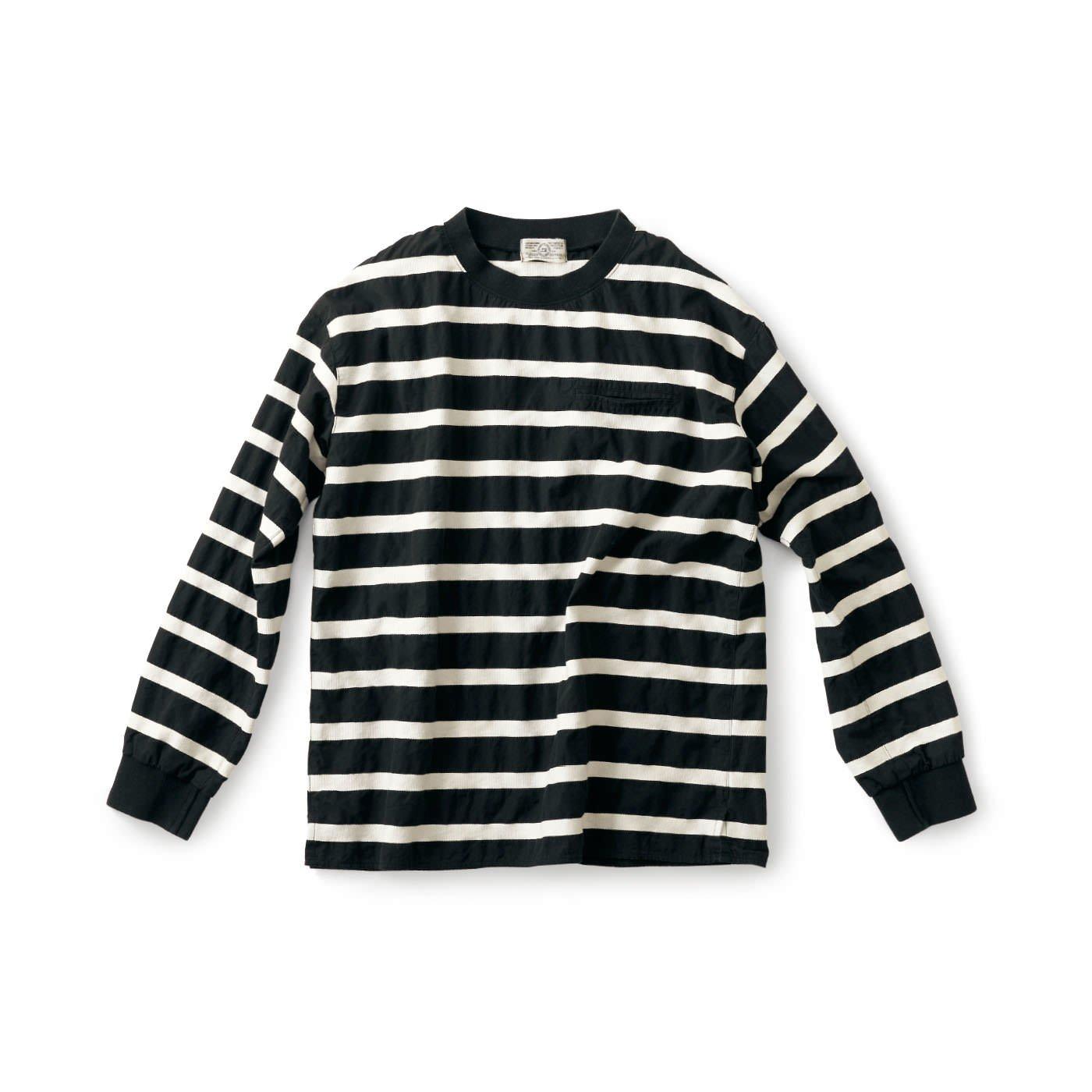 サニークラウズ  変わり織りボーダーTシャツ黒