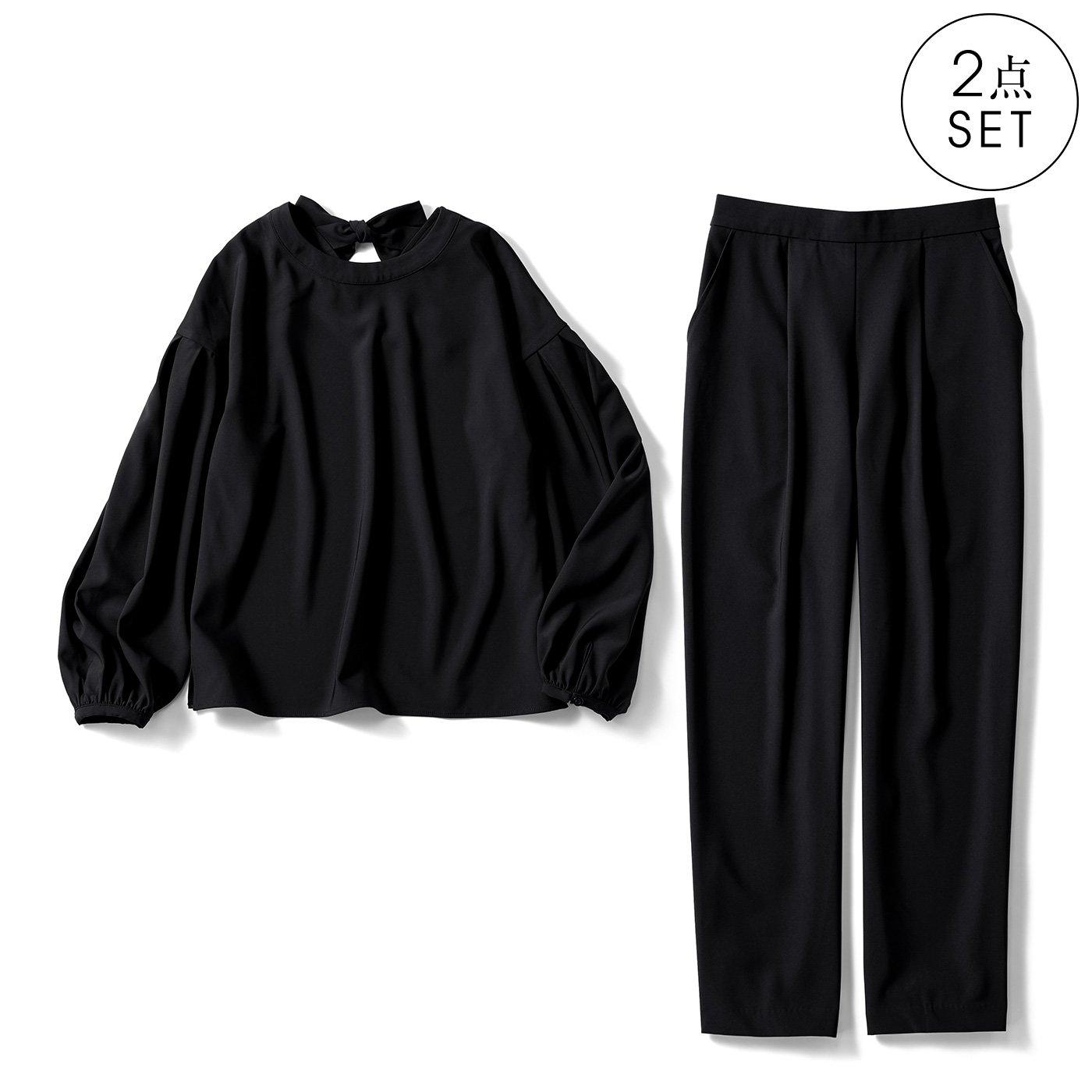 IEDIT[イディット] 小森美穂子さんコラボ ストレッチ素材のバックリボンセットアップ〈ブラック〉
