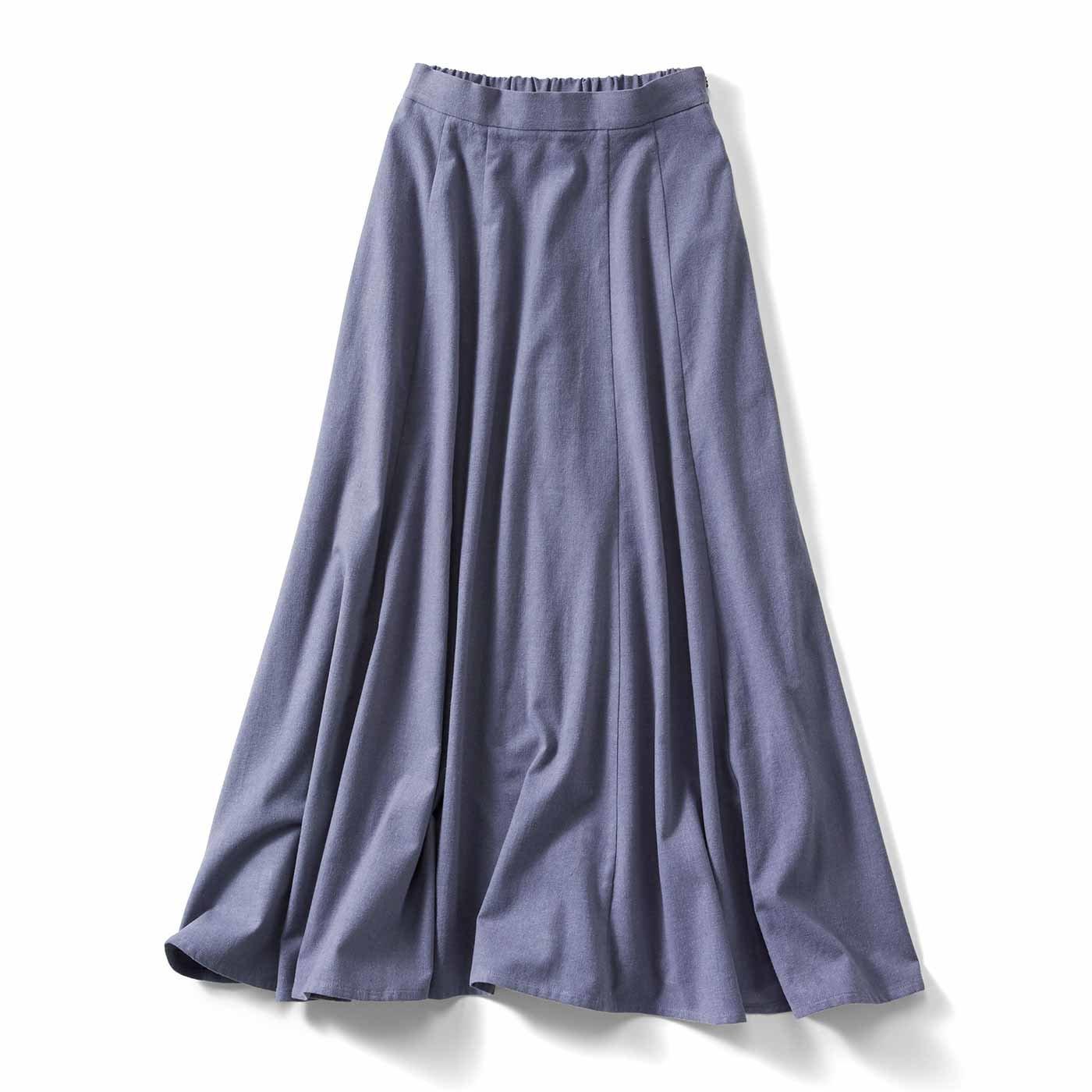 IEDIT[イディット] アンティーク風起毛仕立てのコットンリネンマキシスカート〈ブルー〉