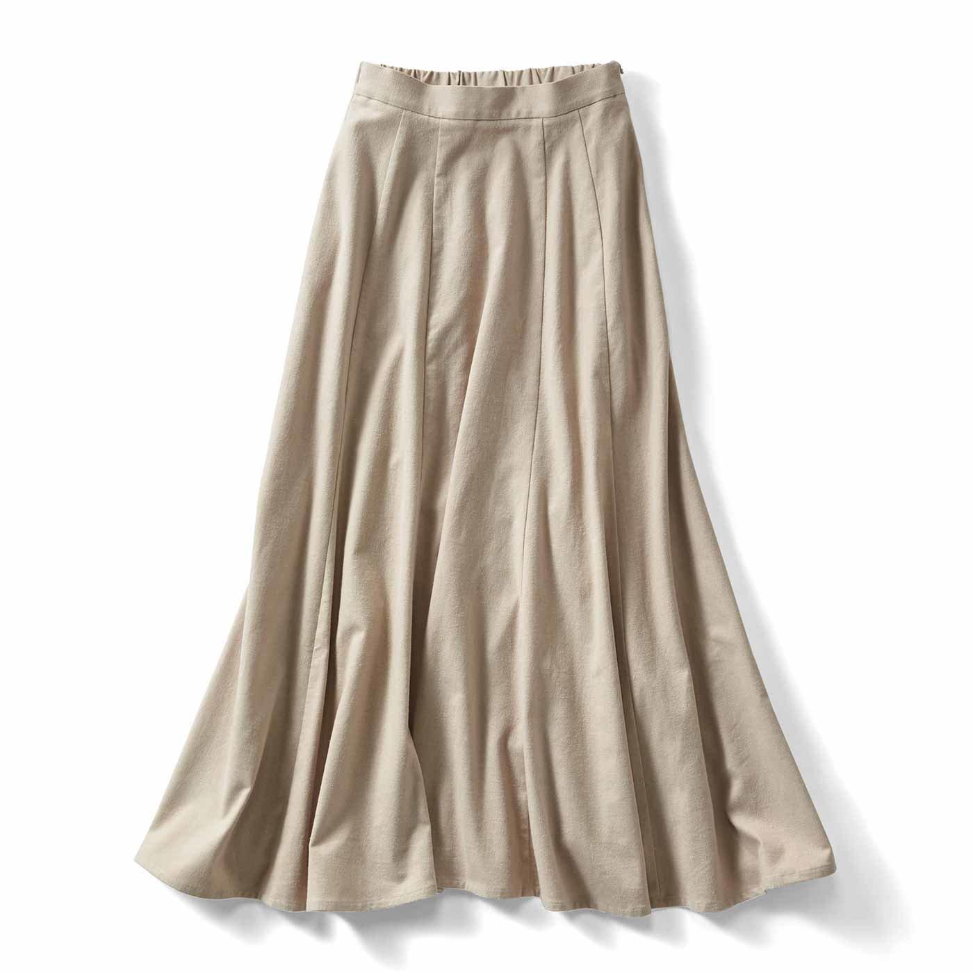 IEDIT[イディット] アンティーク風起毛仕立てのコットンリネンマキシスカート〈グレージュ〉