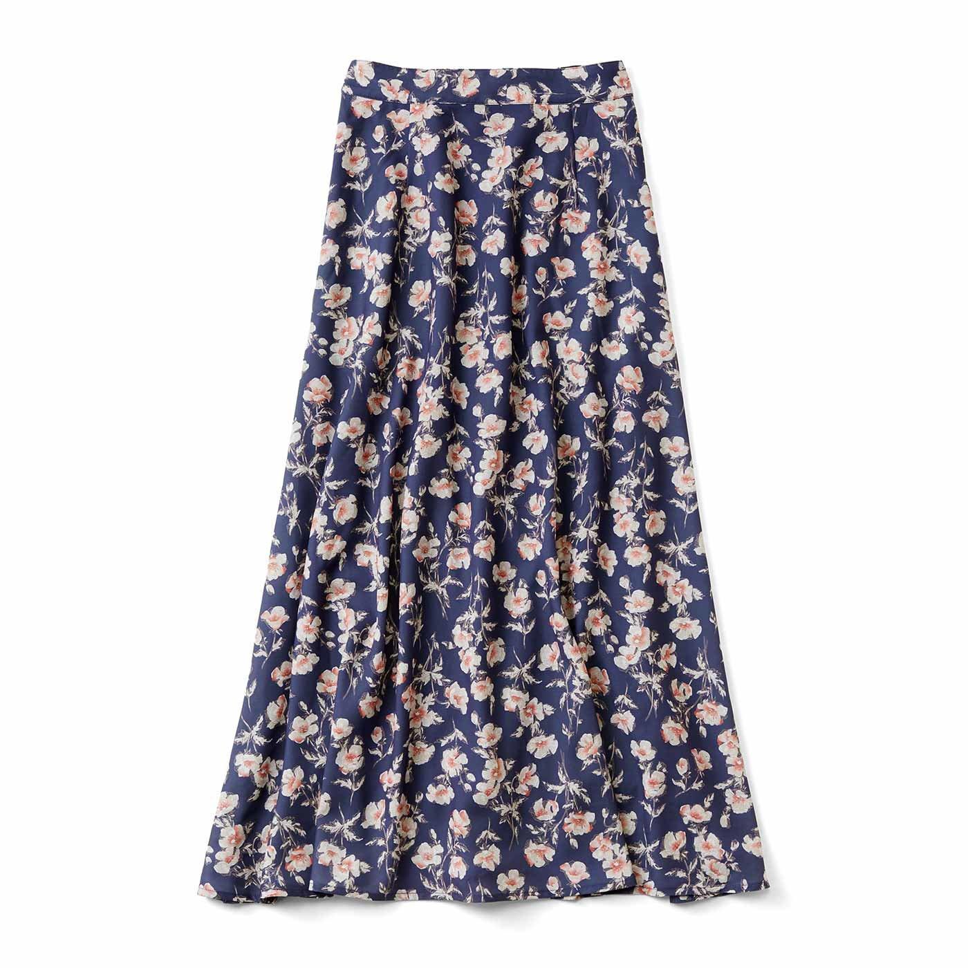 IEDIT[イディット] すらりと細見え ヴィンテージ風フラワープリントスカート〈ネイビー〉