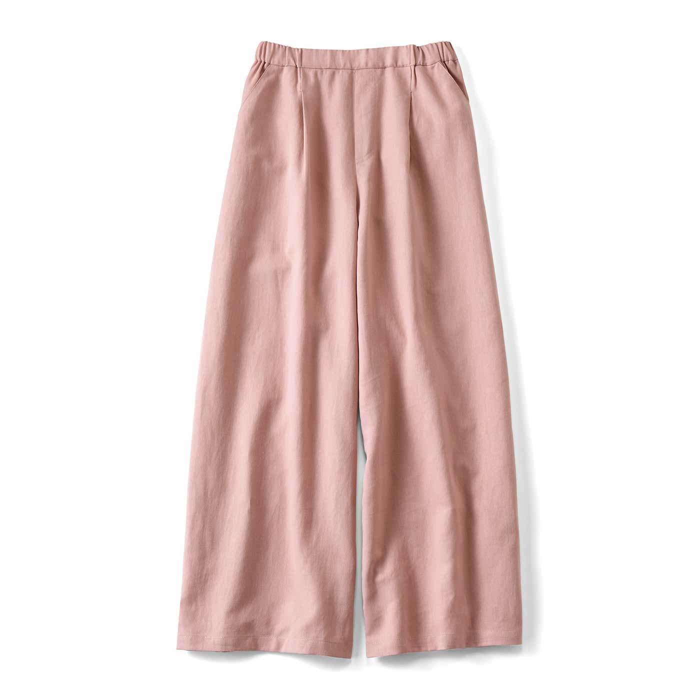 一枚で重ね着で 縁の下の力持ち綿麻パンツ〈くすみピンク〉