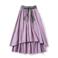 <フェリシモ>キュッとウエストリボンの乙女ギャザースカート〈スミレ〉【送料無料】
