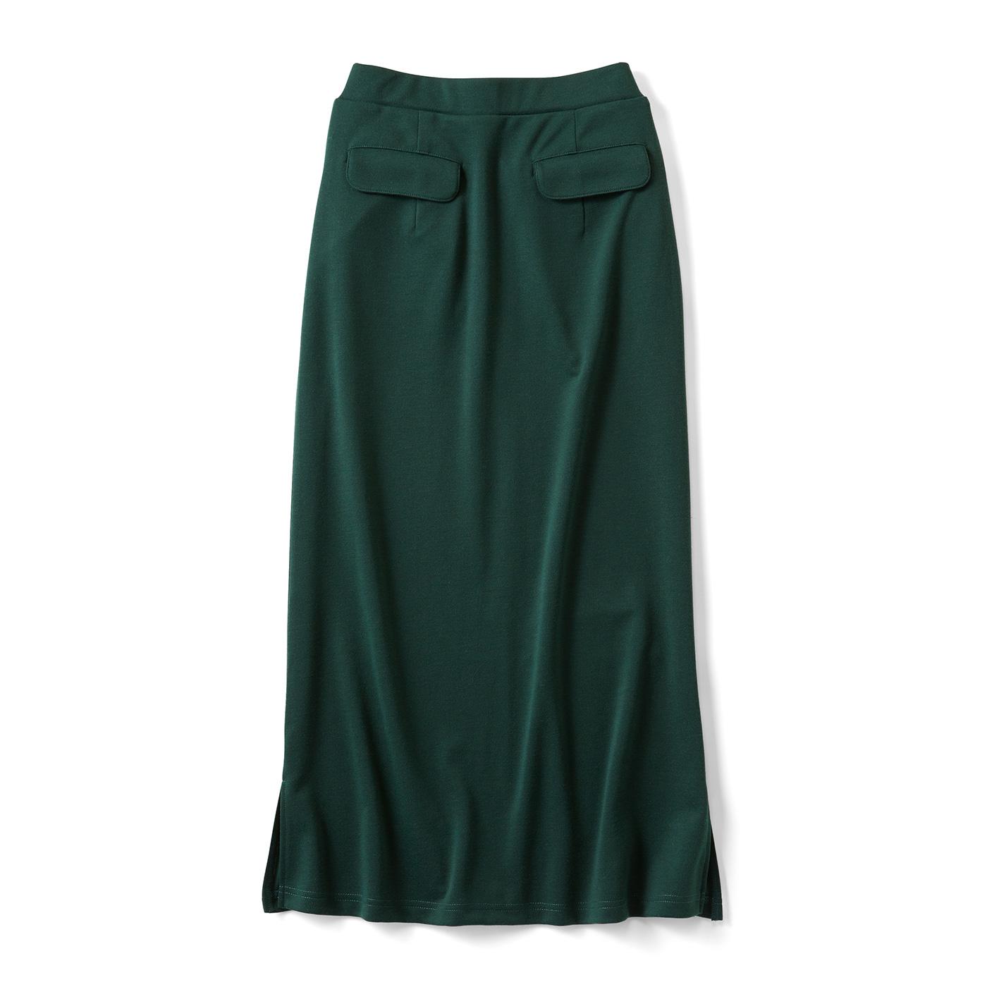 すっきりとらくちんなIラインスカート〈ダークグリーン〉