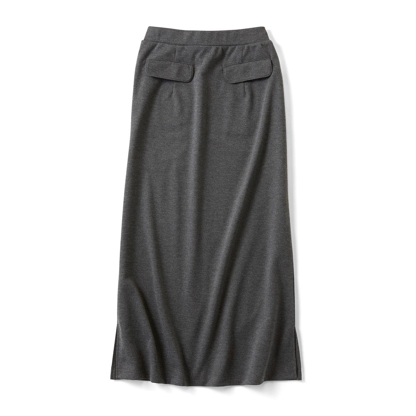 すっきりとらくちんなIラインスカート〈チャコールグレー〉