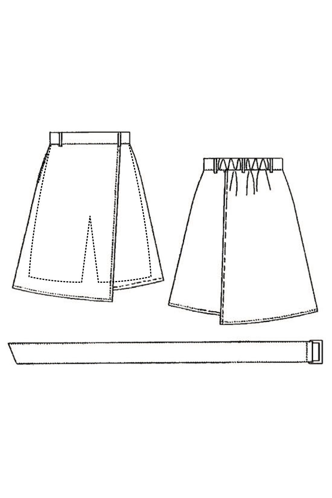 ラップスカートに見せて実は内側はキュロットデザイン。広がりすぎないセミフレアーシルエットと、ひざが隠れる丈感が上品な印象。