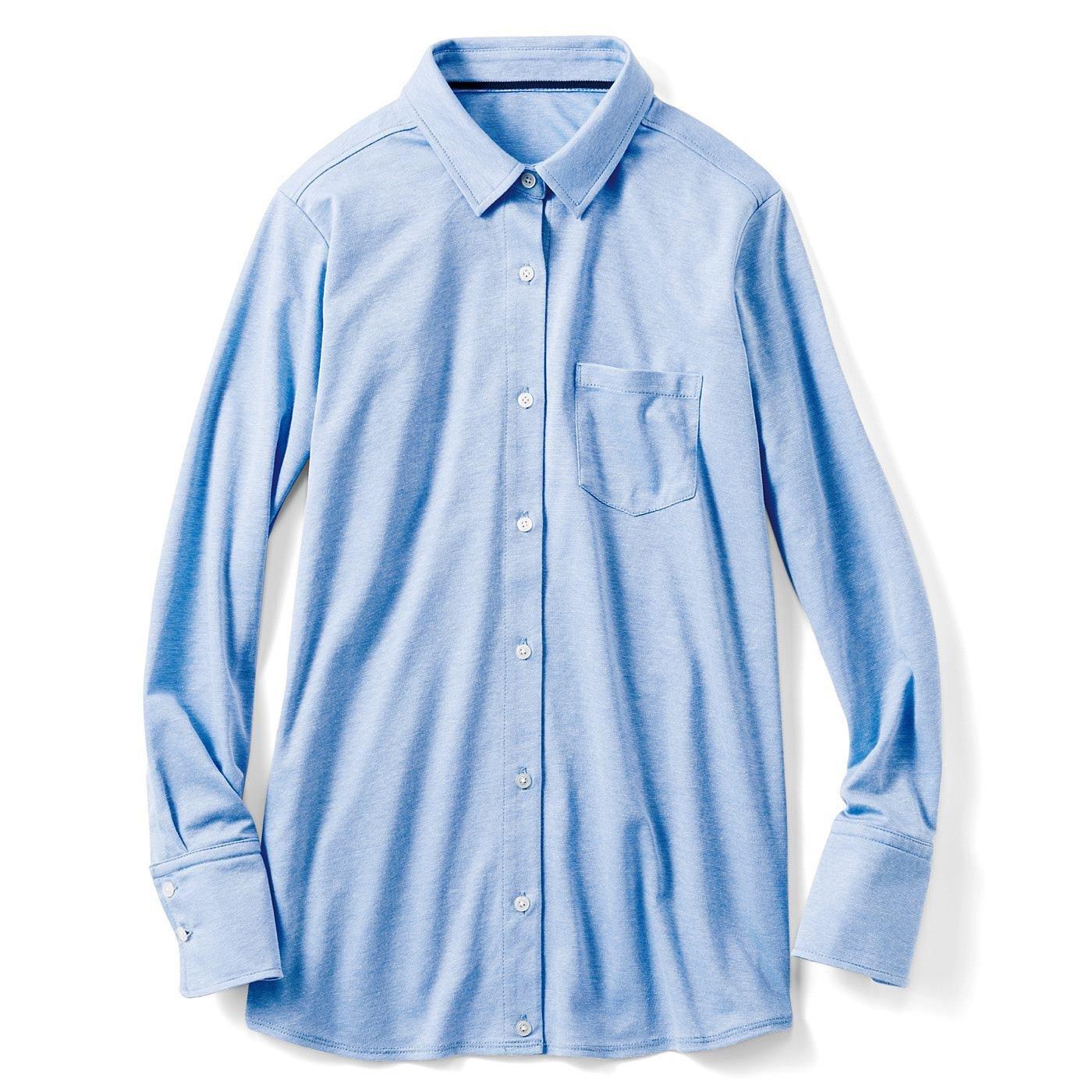 IEDITレーベルコレクション きれい見えして快適なこなれカットソーシャツ〈ライトブルー〉