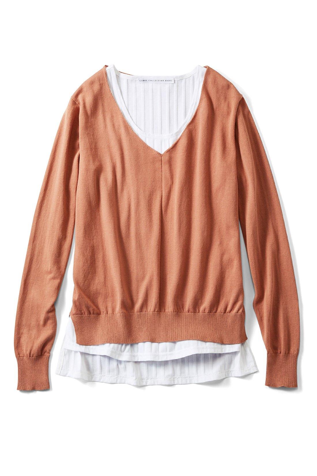 甘辛どちらにも似合う〈ピンクブラウン×オフホワイト〉 ※商品の色味はこちらをご参考にされてください。