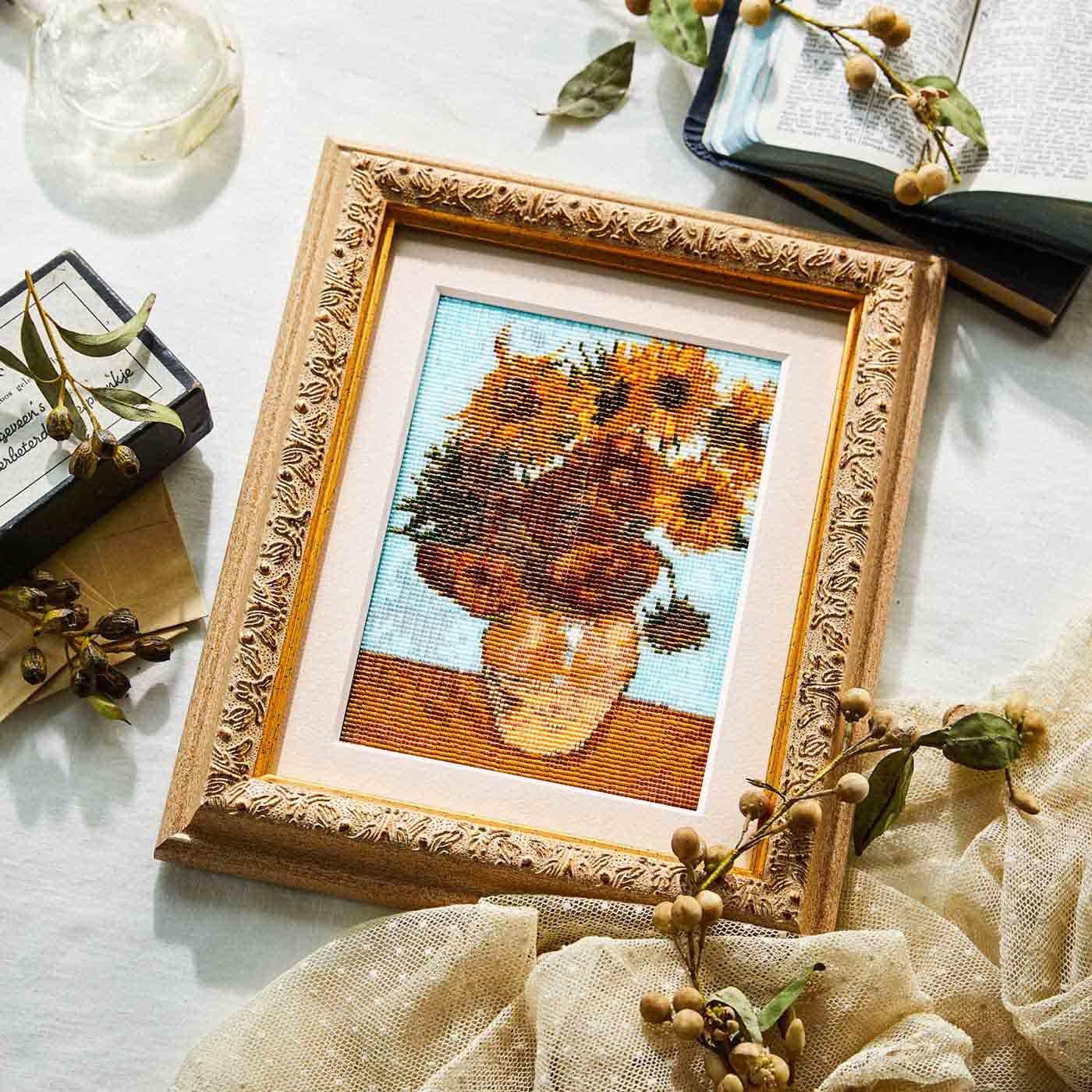 ビーズ織りの モネ・ルノワール・ゴッホ 印象派 花の名画の会