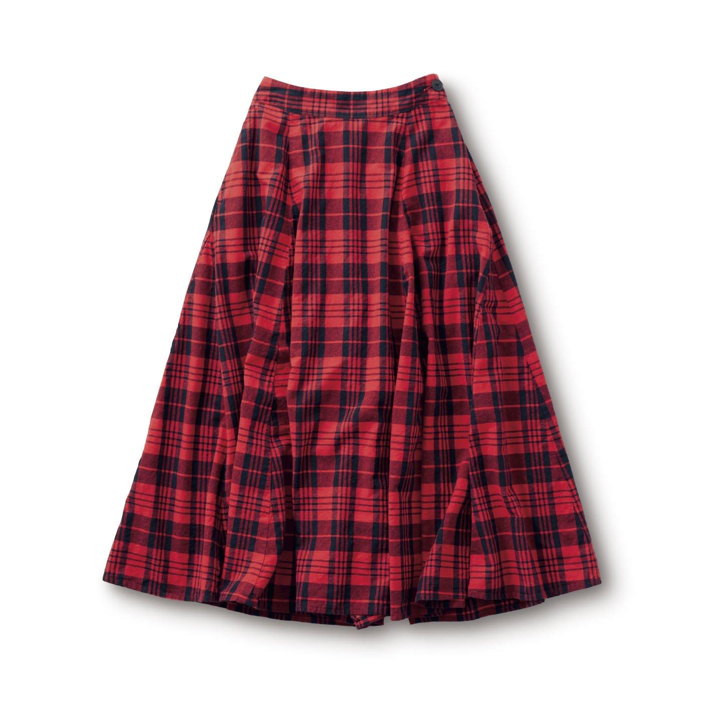 サニークラウズ 赤いチェックのスカート〈レディース〉
