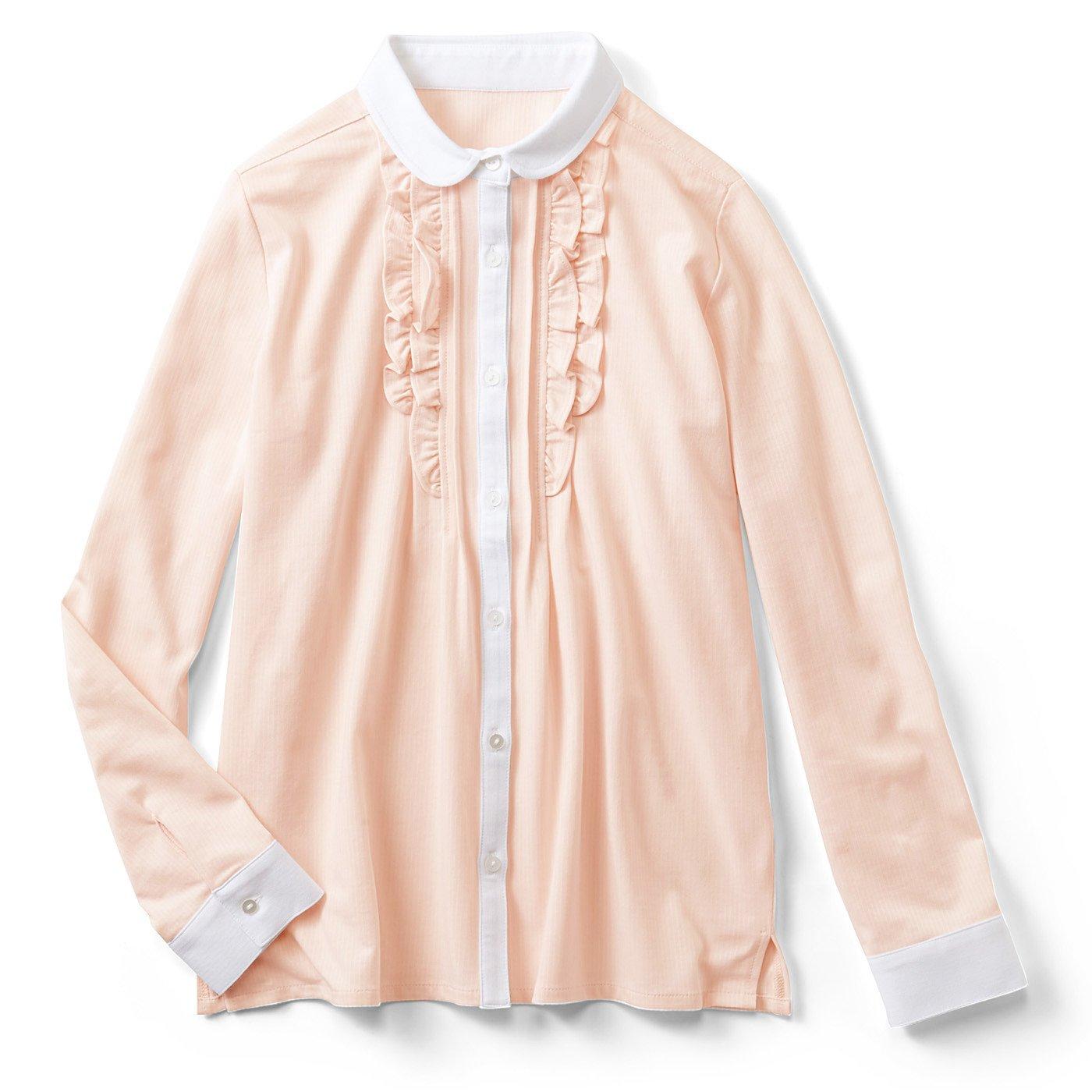 IEDIT LABO. 吸汗速乾&抗菌防臭 伸びて着心地快適 きちんと見えのらくちんカットソーブラウス〈ピンク〉