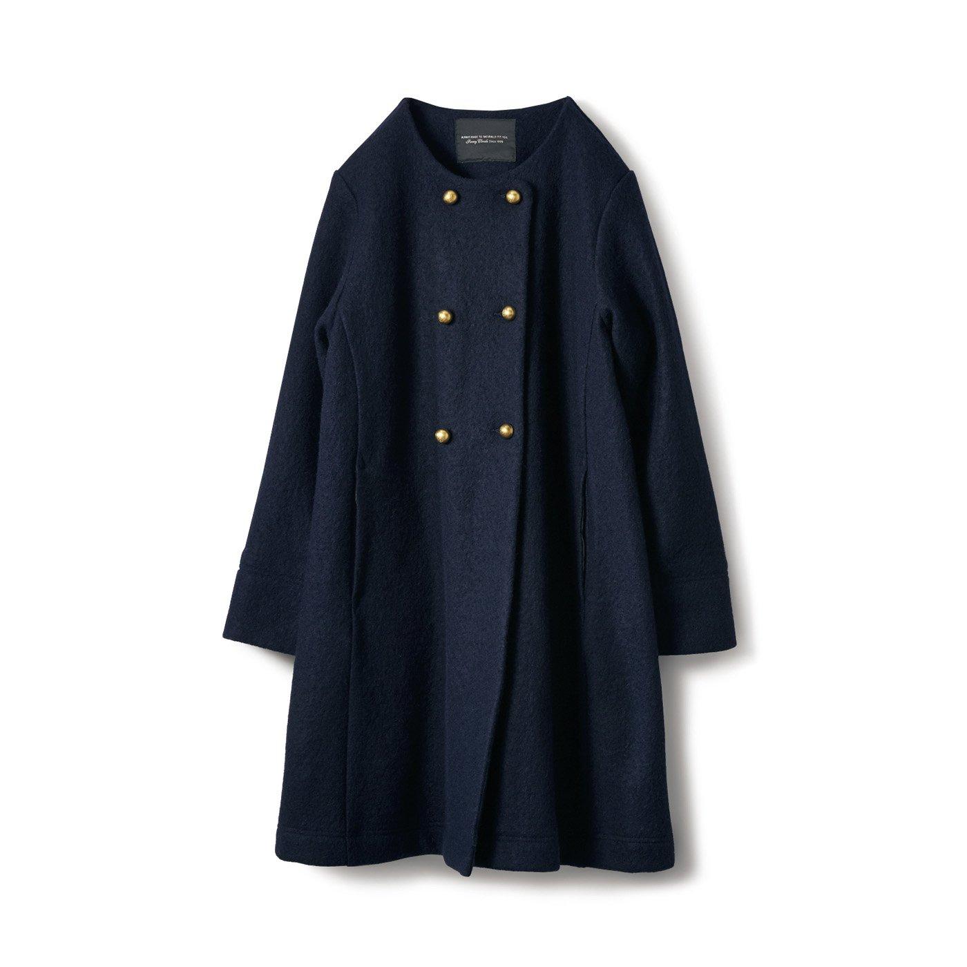 SUNNY CLOUDS  縮絨ニットコート〈レディース〉紺
