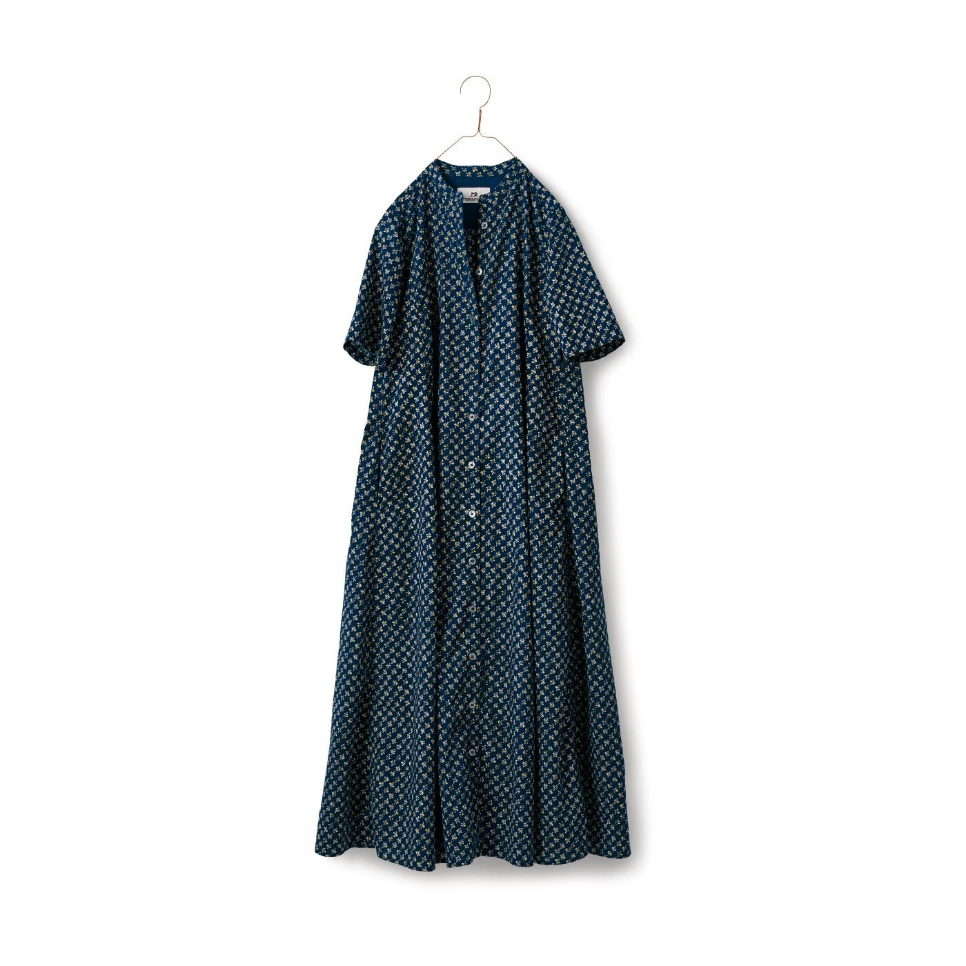 サニークラウズ 檸檬小紋ワンピース〈レディース〉紺