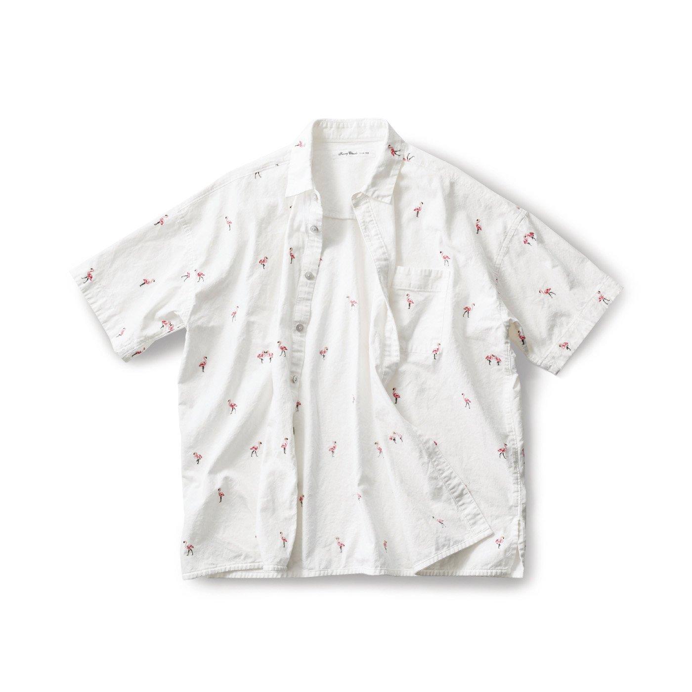 サニークラウズ ご陽気フラミンゴシャツ〈メンズ〉白