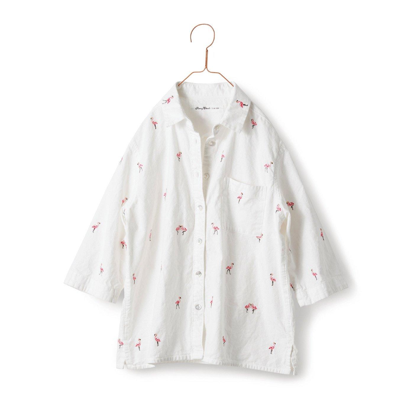 サニークラウズ ご陽気フラミンゴシャツ〈レディース〉白