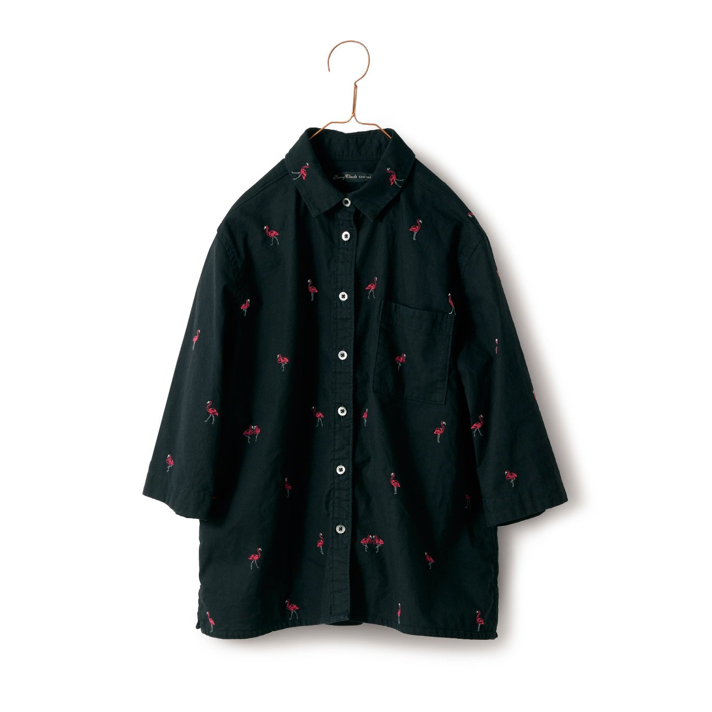 サニークラウズ ご陽気フラミンゴシャツ〈レディース〉黒