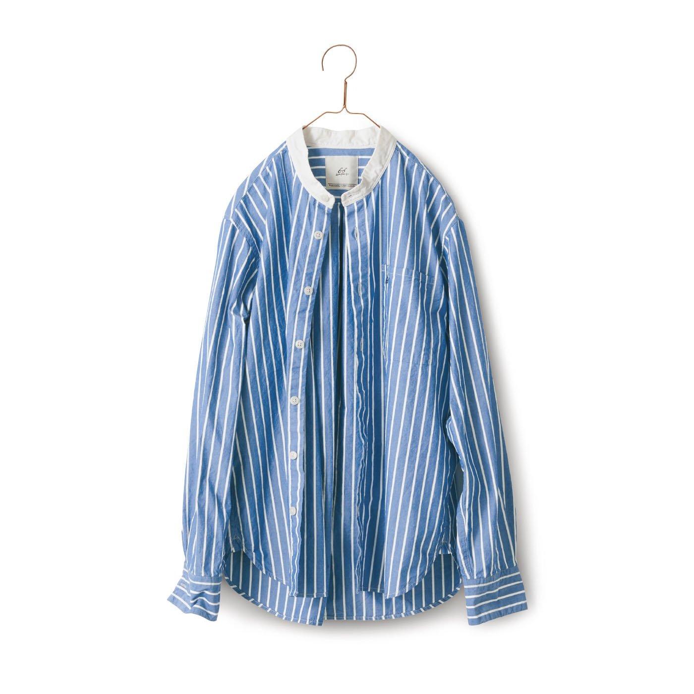 サニークラウズ bonのストライプなクレリックシャツ〈メンズ〉